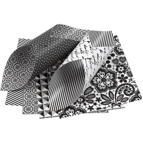 50 x Black//White 10cm Paper Double Sided Origami 4 Design Craft Card Making 80g
