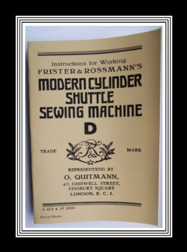 FRISTER /& Rossmann Modelo /'d/' Manual De Máquina De Coser Lanzadera transversal
