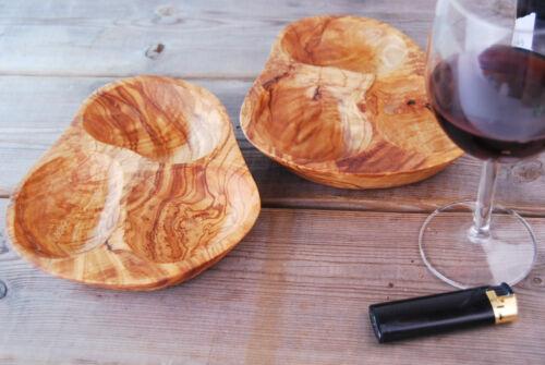 3er Schale Dipschale Olivenholz 3er Fach Holzschale Olivenschale  Nußschale Holz