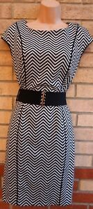 NEXT-GREY-BLACK-CHEVRON-TRIBAL-BELTED-BODYCON-TUBE-PENCIL-FORMAL-DRESS-12-M