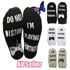 Novelty Funny Sport Socks DO NOT DISTURB/I'M PLAYING Fortnite Gamer Gift BO