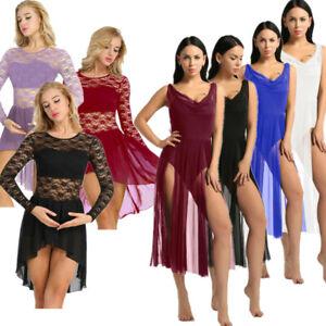 Womens-Long-Sleeve-Floral-Lace-Ballroom-Latin-Dance-Dress-Leotard-Ballet-Costume