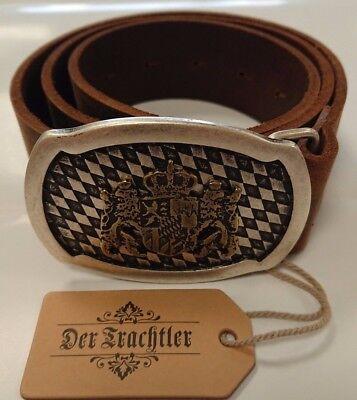 Braun Trachtengürtel mit Koppelschließe und Bayernwappen Herren Ledergürtel