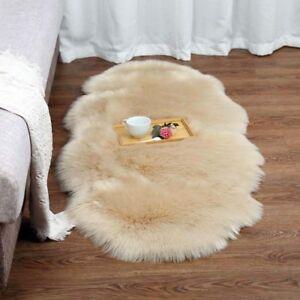 Faux-Fur-Shaggy-Area-Rug-Natural-Sheepskin-Shape-Bedroom-Balcony-Carpet-Rugs