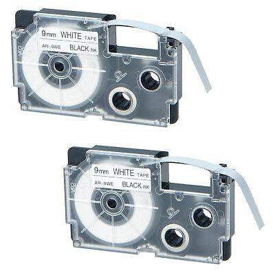 "5PK XR-9WE Black on White Label Tape for Casio KL-780 750B 7200 1500 3//8/"" 9mm"