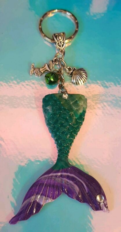 ?unique Handmade Shimmering Mystical Sea Green/purple Mermaid Tail Keyring ? 2019 Latest Style Online Sale 50%