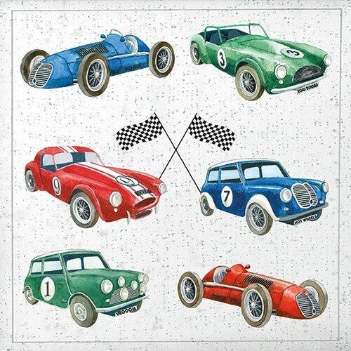 33x 33 cm voitures classiques Déjeuner de taille 20 Serviettes en papier 3-ply