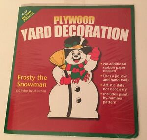 FROSTY-THE-SNOWMAN-Jig-Saw-Pattern-Plywood-Yard-Decoration-New-Old-Stock-Holiday