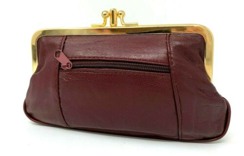 NEW Leather Ladies Clasp Coin Purse 2 Colours Zipped Section Handy