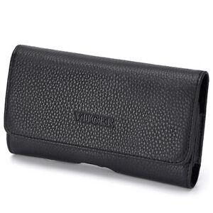 Horizontal Slim Genuine Leather Durable Phone Case Loop Smartphone Belt Pouch