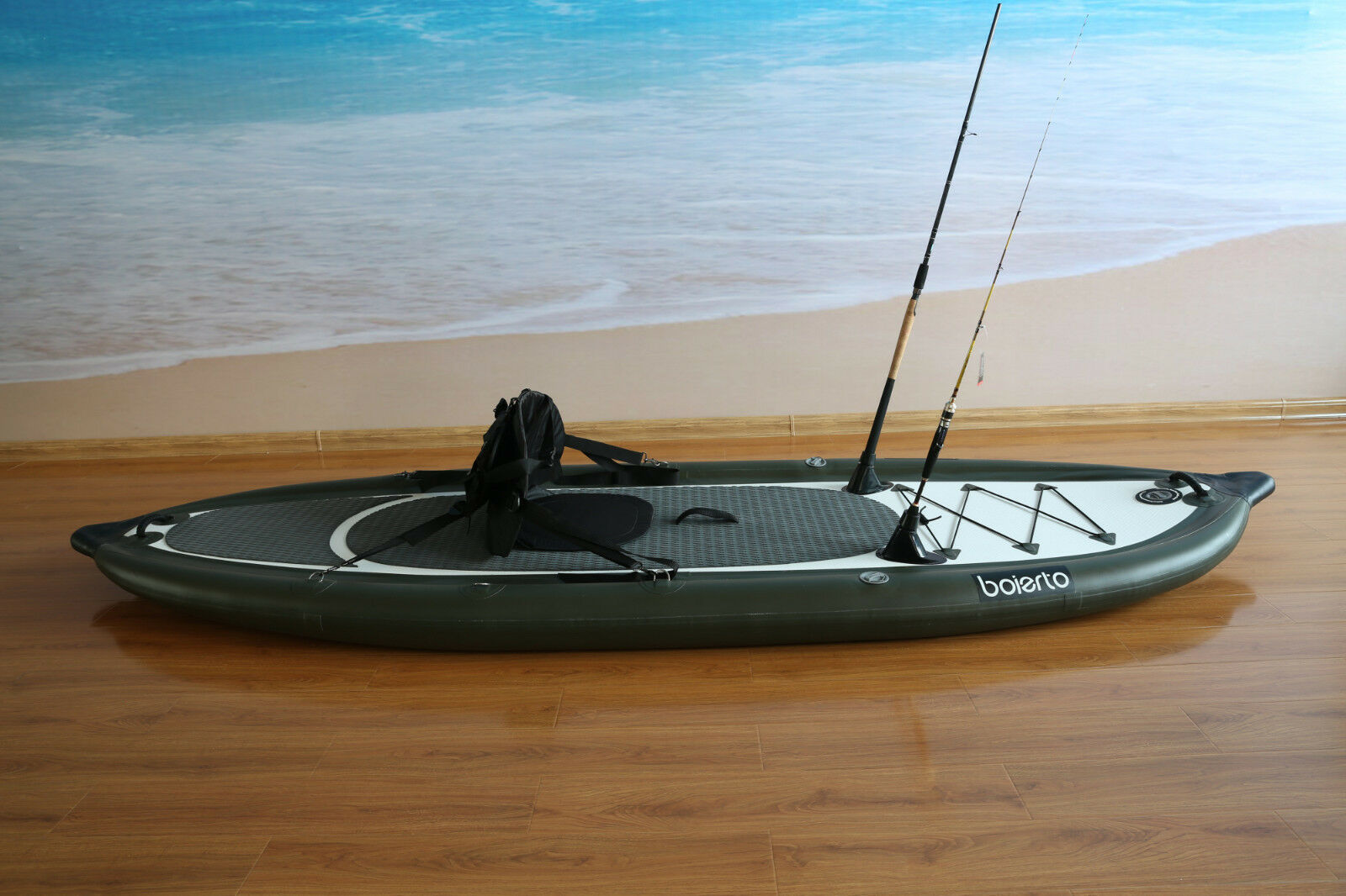 Bolerto portable inflatable fly fishing boat dinghy sport for Inflatable pontoon boat fishing