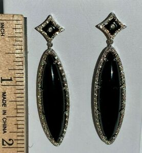 HSN-Yours-By-Loren-Black-Onyx-amp-White-Topaz-Sterling-Silver-Drop-Earrings