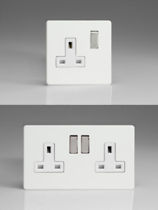 Gang Option High Gloss White Screwless Switched Plug Sockets 13 Amp