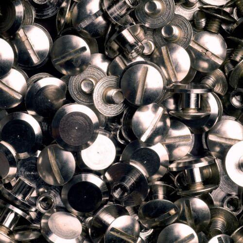 25 Schraubnieten Gürtelschrauben Buchschrauben nickel-glänzend 3MM