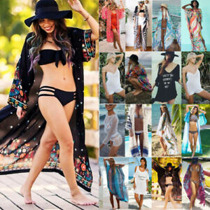 Womens-Swimwear-Bikini-Cover-Up-Long-Beach-Dress-Summer-Boho-Kimono-Cardigan-Top