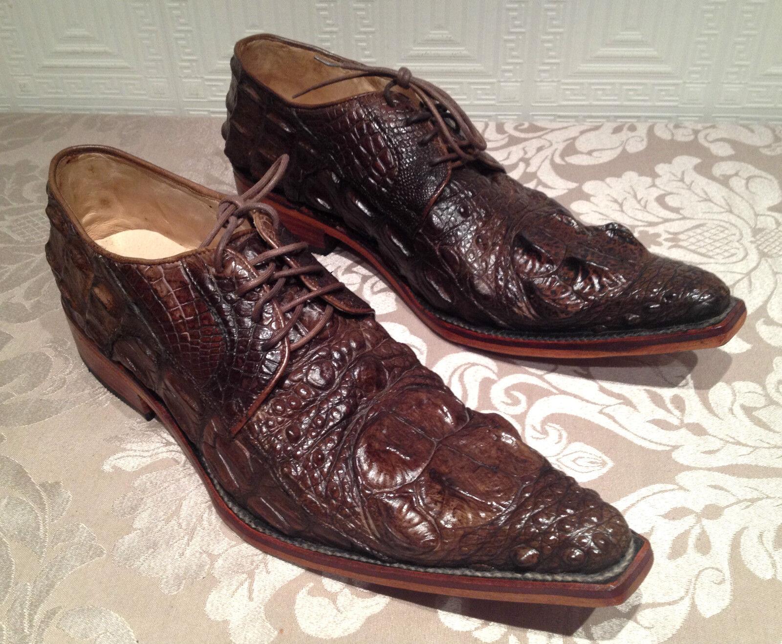 GENUINE CROCODILE SKIN Uomo SHOES LEATHER ALLIGATOR 100% (handmade shoes)