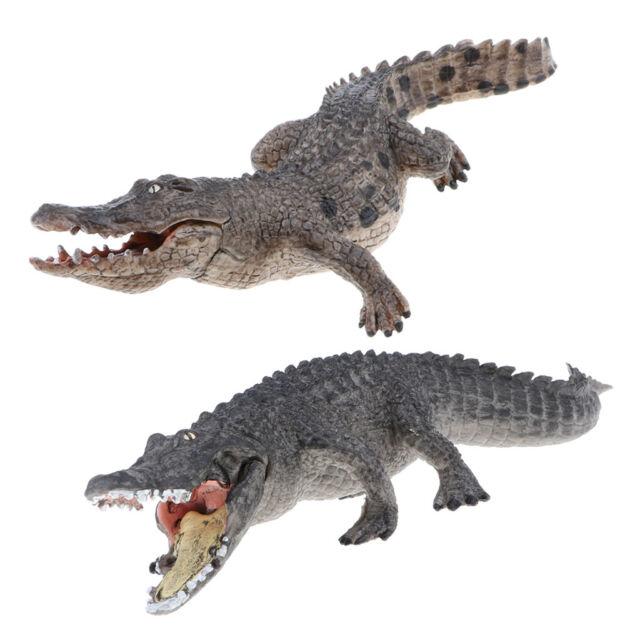 2x Realistic Wildlife Jungle Zoo Crocodile Animal Model Figure Kid Toy Decor