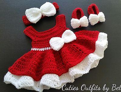 CROCHET BABY GIRL DRESS SET HEADBAND /& SHOES PURE WHITE CHRISTENING RIBBON SALE