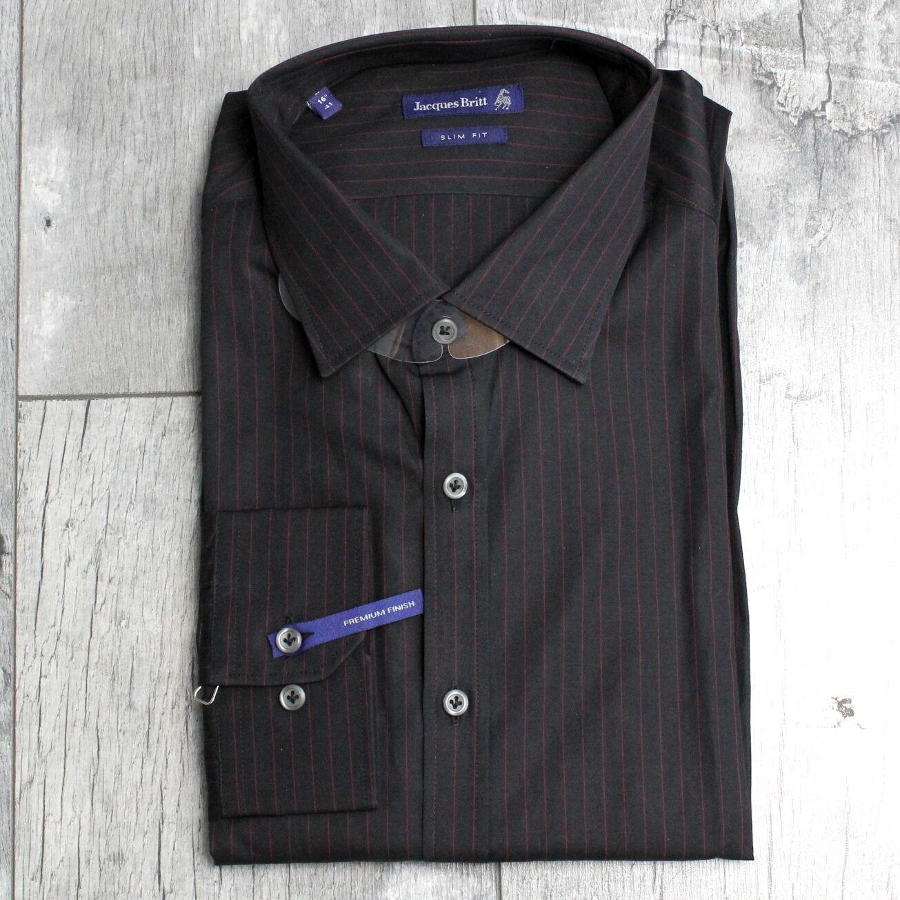 JACQUES BRITT Herren Gr. L/16,5'' Langarm Slim Fit Geschäft Hemd Schwarz A2425