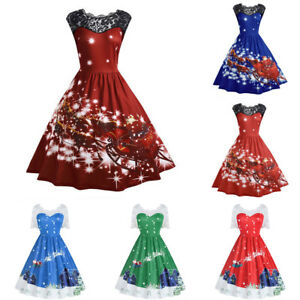 da38f11a69611 Women s Lace Vintage Christmas Sleeveless Swing Party Holiday A-Line ...