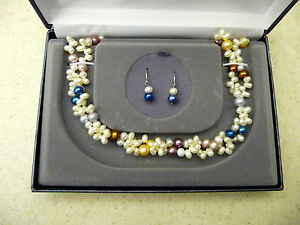 #169# New Beatuiful Multi-Color Fresh Water Pearl Necklace & Earring Set Pearls