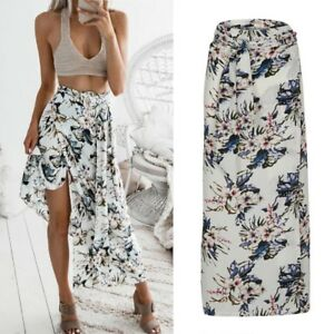 Boho-Womens-Floral-Long-Maxi-Skirt-Ladies-Casual-Split-Summer-Beach-Skirt-dress