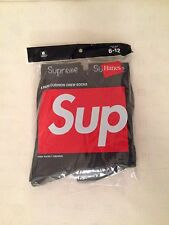 Supreme Hanes Crew Socks (4 pack) Logo SS17 Black