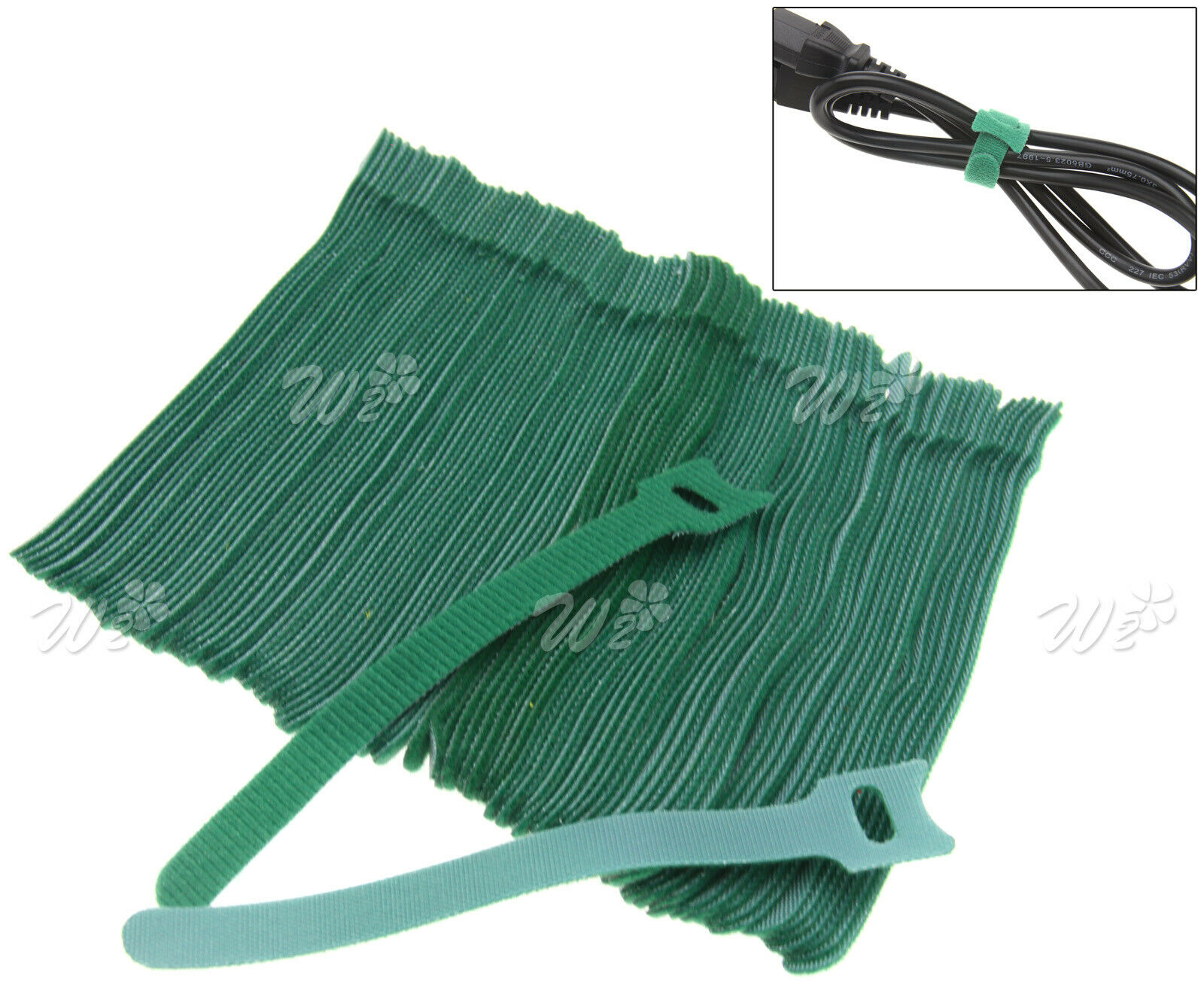 Funtional Nylon Strap Hook and Loop Cable Two Sided Cord Ties Tidy Organiser