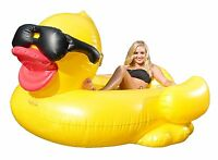 Derby Duck Inflatable 2 Person Pool Float Chaise Lounge Water Raft Rubber Duckie