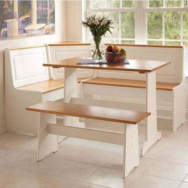 Kitchen Nook Breakfast Set Dining Table W Corner Bench White Honey Pine Wood For Sale Online