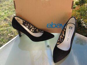 ANN-KLEIN-iFLEX-Black-Suede-Back-Zip-Pumps-Heel-Shoes-Womens-Size-7-5