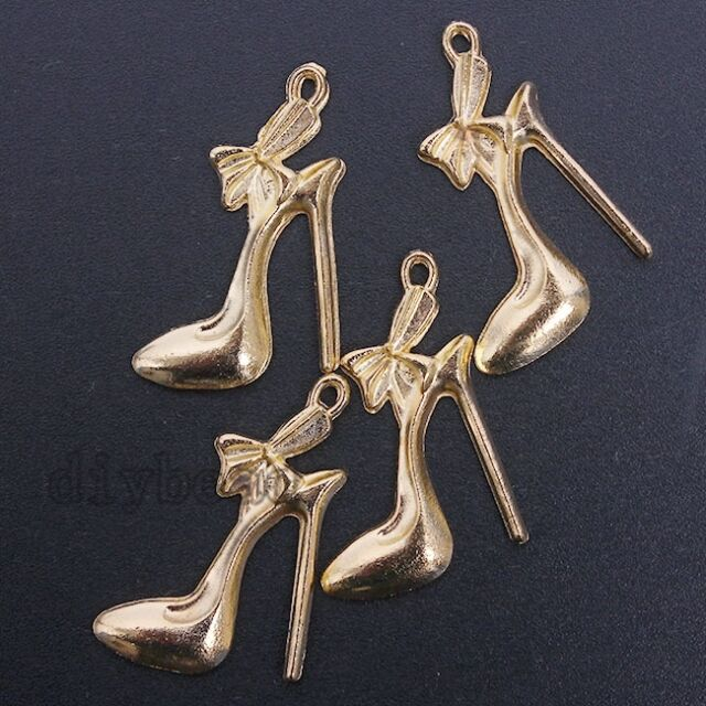 20x Newest Gold Plated Zinc Alloy High Heel Shoes Charms Pendants Hot Findings D