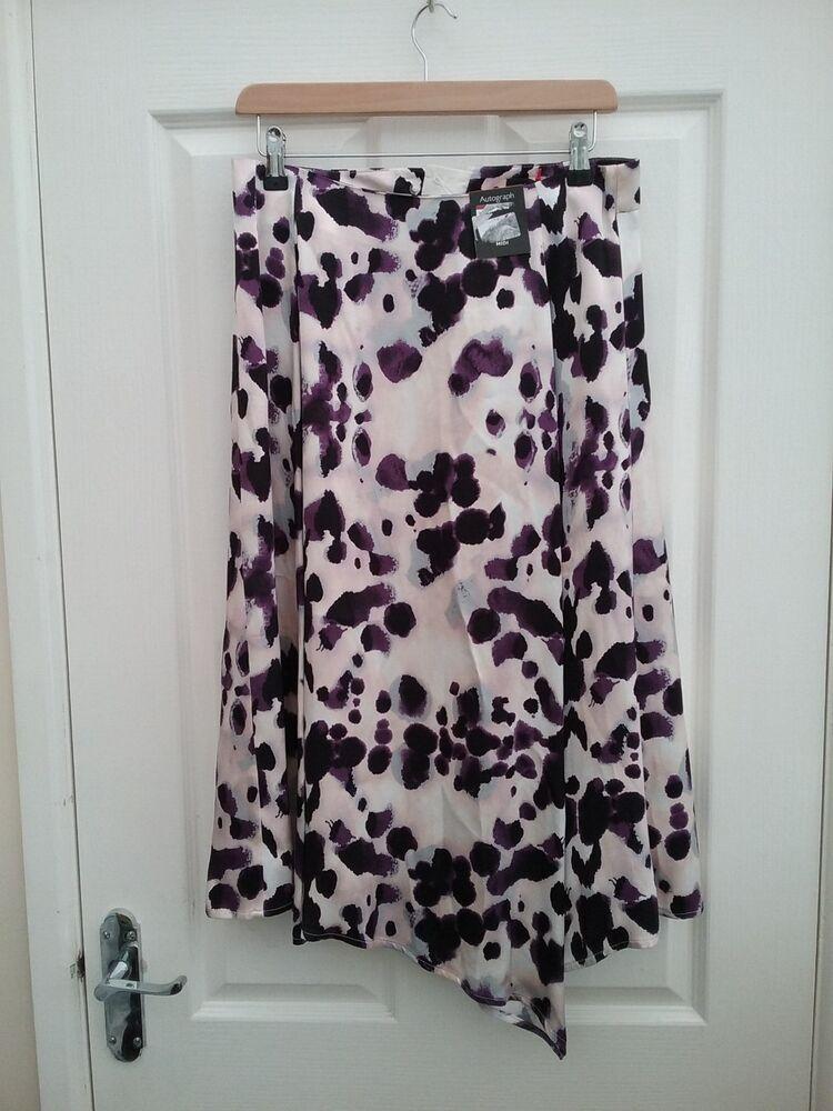 Autographe Par M & S Noir/crème/violet Mix Satin Asymétrique Jupe Taille 10 Bn-rple Mix Satin Asymmetric Skirt Size 10 Bn