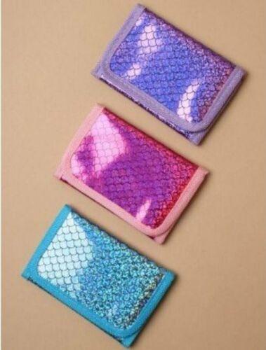 Girls Kids Tri Fold Shiny Mermaid Metallic Fabric Zip Wallet Pink Blue Purple
