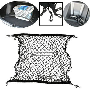 universal car truck cargo mesh storage bag organizer vehicle suv back net 4 hook. Black Bedroom Furniture Sets. Home Design Ideas
