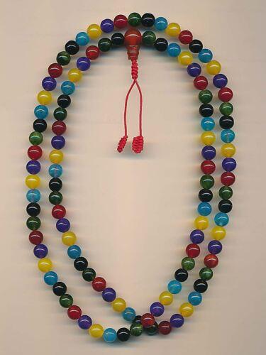 Mala Bunte 108 Perlen 8mm gems Handarbeit Edelstein Mix 83d