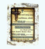 Bible Verse Wall Decor Plaque Hebrews 10: 35-36 Faux Carved Birch Wood