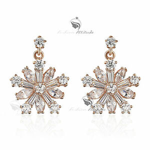 a5eeced50 18k rose gold gf made with SWAROVSKI crystal snowflake stud dangle ...
