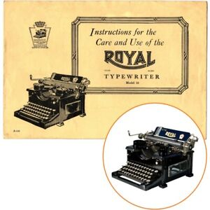 ROYAL No.10 TYPEWRITER INSTRUCTION MANUAL Antique Vtg Single Panel Glass Side