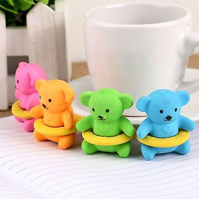Lovely Swimming Bear Pencil Rubber Eraser Stationary Kid Toy Gift School Office