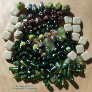 Charmant Perles En Pate De Verre Lot En Vrac Gamme De Vert Sapin
