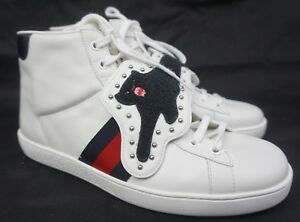 Details about Gucci Ace Removable Patch Sneaker Panther High Tops White  Shoes Size 8 G / 9 US