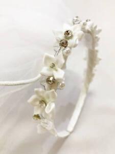 Rhinestone-Crystal-Communion-Headband-With-Veil-Wedding-Bridal-Birthday-Tiara