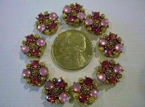 2 Hole Slider Beads Catseye /& Crystal Pink Made with Swarovski Elements  #9