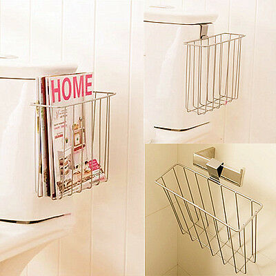 Bathroom Toilet Mount Shelf Magazine Book Holder NEWS Rack Blanket Hanging Hook