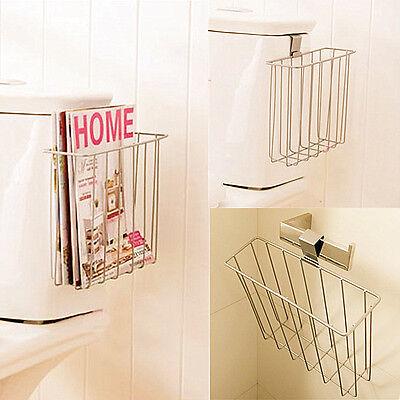 Bathroom Toilet Mount Shelf Magazine Book Holder NEWS Rack Blanket Hanging Hook