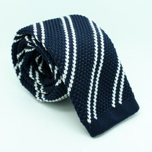 Brown Yellow Blue Black White Red Weave Knitted Skinny Fabric Tie Straight End