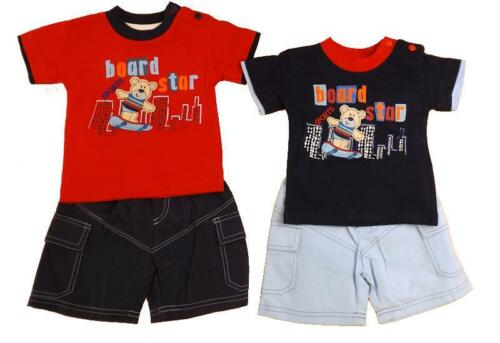 Baby boys t-shirt shorts board star printed design with appliqued bear set