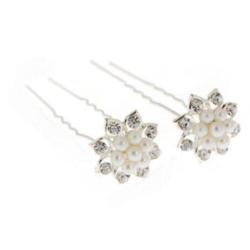 2 Strass Perlen Haarnadeln Braut Kommunion Hochzeit Blumen Haarschmuck NEU