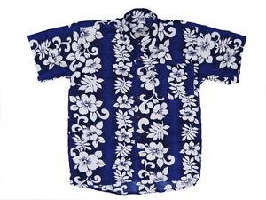 Camicia-Hawaiana-Hawai-Hawaii-Hemd-Viscosa-Blu-Serie-di-Fiori-Bianchi